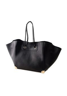 Carryall Faux Leather Tote - Gorgeous Black Faux Leather Bag