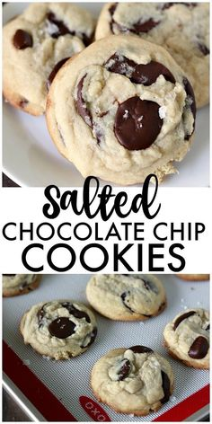 Once you try these thick chewy cake-like Salted Chocolate Chip Cookies you're going to forget about all your other chocolate chip cookie recipes! Best Cookie Recipes, Best Dessert Recipes, Easy Desserts, Baking Recipes, Delicious Desserts, Desert Recipes, Yummy Snacks, Dessert Ideas, Homemade Cookies