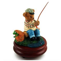 Thread Bears - 'Gone Fishing' Musical Figurine with 18 Note Tune-Greensleeves ** Awesome product. Click the image : Musical Boxes and Figurines