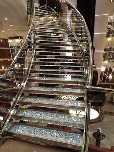 MSC Divina Cruise Ship Swarovski Staircase – [pin_pinter_full_name] MSC Divina Glitter Stairs, House Stairs, Staircase Design, House Goals, Dream Rooms, Modern House Design, Home Interior Design, My Dream Home, Luxury Homes
