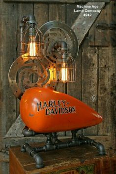 Steampunk Industrial Lamp, Vintage Harley Davidson Motorcycle Gas Tank I need this! Classic Harley Davidson, Vintage Harley Davidson, Industrial Chic, Industrial Furniture, Industrial Closet, Industrial Restaurant, Industrial Living, Industrial Bedroom, Industrial Shelving