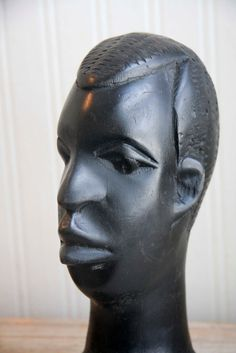 Ebony Wood African Bust African Carved Wood Tribal