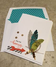 Robin's card: Four Feathers & its framelits, Endless Birthday Wishes, Epic Day washi tape, & more. All supplies from Stampin' Up!