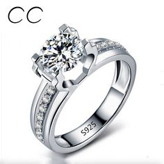 1.5 Carat AAA CZ Simulated Diamond Wedding Rings For Women White Gold Plated Luxury Engagement Ring Bijoux Bagues Femme CC066