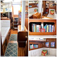 Windtraveler: Our Boat Interior: A Photo Tour Sailboat Living, Living On A Boat, Boot Dekor, Liveaboard Boats, Sailboat Interior, Diy Yacht Interior, Sailboat Decor, Build Your Own Boat, Boat Projects