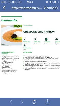 Crema de chicharrón Chicharrones, Cooking Recipes, Pork, Thermomix