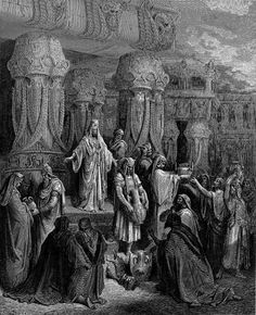 Gustave Dore's painting of Cyrus the Great restoring the sacred vessels of the temple to the Jews (Posted in the KingFoska Files website). When Cyrus conquered Babylon, he ordered the sacred religious objects of the Jerusalem Temple to be restored to their rightful owners, the Jews.