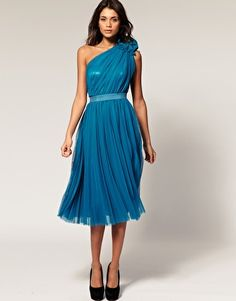 ASOS Midi Dress with One Shoulder & Corsage                                                                £75.00