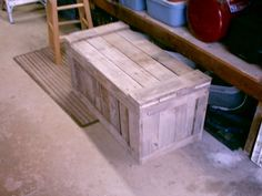 pallet trunk. love, love, love!! Perfect for foot of the bed