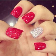 Red glitter nails :)