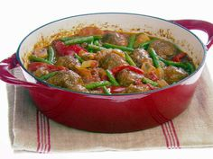 I think this will be one of my camping menu items this year! So good and hot! It would go great on a cold Fort Bragg night!Hearty Meatball Stew from FoodNetwork.com