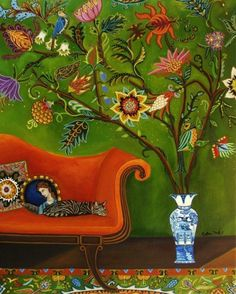 The print is reproduced from a painting by me, Catherine Nolin. It is printed on a lovely matte Epson paper. It is archival, water-resistant, fade-resistant, and has a beautiful velvety richness! Impressions Botaniques, Sleep Studies, Buch Design, Photo Chat, Botanical Prints, Bohemian Decor, Oeuvre D'art, Cat Art, Graffiti