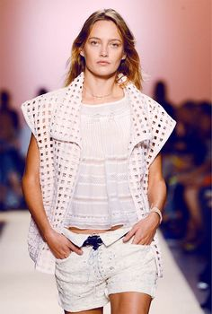 Loose leather west with lace top and shorts, Isabel Marant. Photo: Leena Aro.