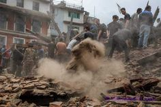 KATHMANDU, NEPAL - APRIL 25: Emergency workers and bystanders clear debris while searching for survivors under a collapsed temple in Basantapur Durbar Square following an earthquake on April 25, 2015 in Kathmandu, Nepal. A major 7.8 earthquake hit Kathmandu mid-day on Saturday, and was followed by multiple aftershocks that triggered avalanches on Mt. Everest that buried mountain climbers in their base camps. Many houses, buildings and temples in the capital were destroyed during the…