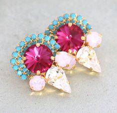 Turquoise & magenta earrings