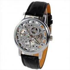 Winnen Mechanical Watch 12 Roman Numbers Hour Marks Round Dial with Leather Watchband for Men (Silver) Cheap Watches For Men, Mechanical Watch, Sammy Dress, Watch Bands, Skeleton, Black Leather, Unique Jewelry, Luxury, Silver
