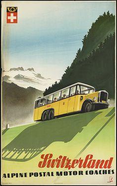 Vintage Switzerland Travel Poster Retro by graficaitalia Poster Retro, A4 Poster, Vintage Travel Posters, Vintage Ads, Poster Prints, Poster City, Art Print, Travel Ads, Bus Travel
