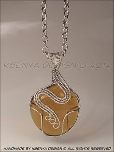Glass stone + inox wire + long chain (70 cm)    Size: 6 x 3,5 cm