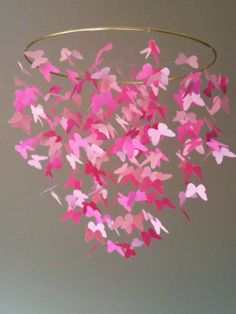 baby girl pink butterfly mobile