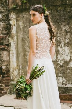 INDUSTRIAL WEDDING STYLING FROM HOPE & LACE | GOWN BOUQUET HAIR