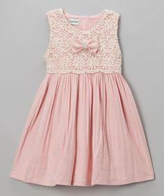 Pink Lace Pleated Dress - Girls