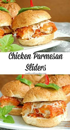 Easy Chicken Parmesan Sliders, great for lunch, game day gatherings or entertaining. from willcookforsmiles.com