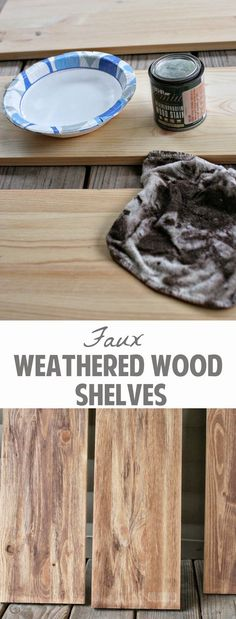 Learn how to make Faux Weathered Wood shelves from brand new wood. Get the farmhouse look without having to find reclaimed wood! Weathered Wood, Barn Wood, Aged Wood, Distressed Wood, Diy Painting, Painting On Wood, Weather Wood Diy, Diy Wood Projects, How To Distress Wood