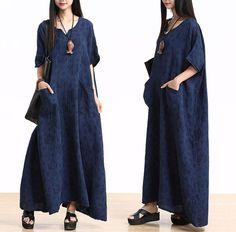Plus Size Cotton Linen Maxi Dress Loose Fitting Bat Sleeve Summer Dresses - Buykud