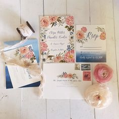 Vintage blue and pink wedding invitations from @minted.