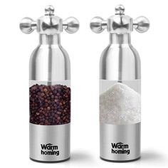 Salt and Pepper Grinder Set  Warmhoming Stainless Steel Pepper Mill Salt Mill  Granule Size Adjustable Pepper Grinder Salt Grinder  Set of 2 *** You can find more details by visiting the image link.Note:It is affiliate link to Amazon.