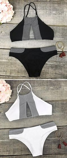 It's time to show your curve to the world. Yes, Big Sale at Only $17.99! You deserve flattering one bathing suit! Delivery Time is just within Two Days after you place an order. White and black colors seem to set the mood and spirit of the season... count me in! Bold and bright, the Stripe Splicing Bathing Suit is a standout one.