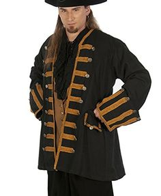 Dress Like A Pirate Brand Captain Ansell Frock Coat 18th Century Jacket XXXL Black with Brown Trim