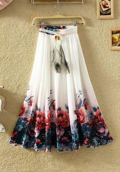0c526bd8f8eba White Floral Elastic Waist High Waisted Bohemian Skirt Casual Skirt  Outfits, Casual Skirts, Elastic