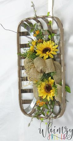 Wreath for Front Door / Tobacco Basket / Farmhouse Wreath /