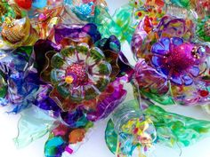 CHihULy inspired plastic bottle flower door wreath Recycled