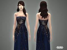 Created By -April-  Raina - gown  Created for: The Sims 4 This is an embroidered strapless gown which comes in 1 color variation. New mesh, new item.