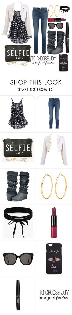 """To choose joy is to find freedom"" by grace-buerklin ❤ liked on Polyvore featuring Frame, Torrid, Chanel, Boohoo, Rimmel, Gentle Monster, Gucci, NYX and ADZif"