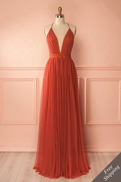Sexy Deep V Neck A Line Floor Length Long Tulle Backless Evening Dress,Long Tulle Deep V Neck Long Prom Dress Welcome+to+our+Store.thanks+for+your+interested+in+our+gowns. Orange Formal Dresses, Burnt Orange Bridesmaid Dresses, Burnt Orange Dress, Orange Gown, Boutique Maxi Dresses, Grad Dresses, Dress Prom, Women's Dresses, Dresses Online