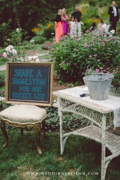 Cute idea - asking guests to contribute to your bucket list! Wedding inspiration from Mari and Stephen's wedding, Storybook Farm, Redmond WA. Table and props from Vintage Ambiance rentals.