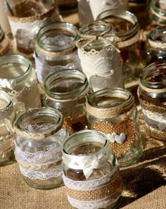 30 x Assortment Shabby Chic Wedding Jars Flowers Hessian Lace