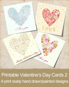 Printable Hand Painted Valentine's Day Cards 2 Printable Valentines Day Cards, Be My Valentine, Yup, How To Draw Hands, Printables, Hand Painted, Painting, Design, Print Templates