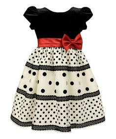 Black & White Dot Velvet Dress - Infant & Toddler