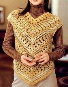 Crochet Sweater: Crochet Vest - Colete Feminino - Esgrima Vest