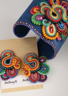 soutache - earrings and bracelet Soutache Bracelet, Soutache Jewelry, Bead Jewellery, Beaded Jewelry, Bead Embroidery Jewelry, Textile Jewelry, Fabric Jewelry, Beaded Embroidery, Handmade Necklaces