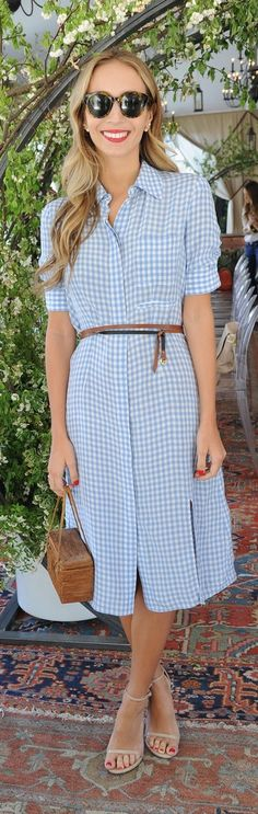 Harley Viera-Newton celebrated Piaget's new Possession collection in a simple checkered shirtdress, which she belted and paired with some strappy neutral sandals.