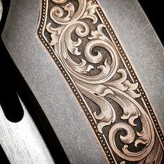 Copper Inlaid Deuce Redux Engraved by yours Baroque Tattoo, Filigree Tattoo, Engraving Tools, Metal Engraving, Gravure Metal, Hand Tattoos, Gothic Pattern, Picture Engraving, Leather Craft Tools