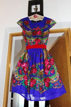 Electric Blue Royal Dress Blue Folk Dress Ethnic by YesADress