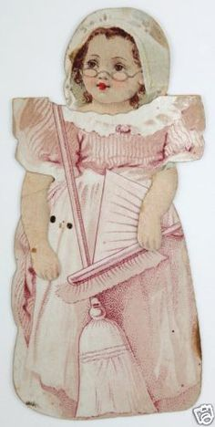 Clark's O N T Spool Cotton 3 Antique Victorian Paper Doll Trade Cards Sewing