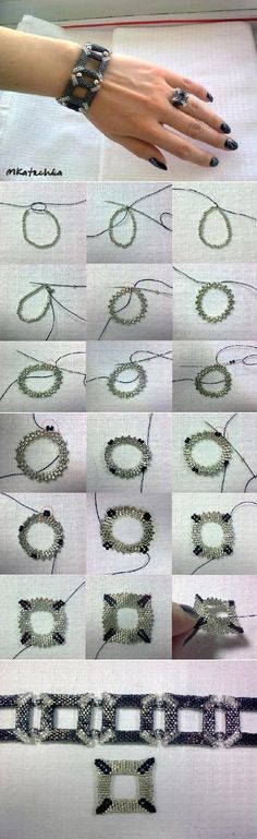 DIY Square Shaped Beaded Bracelet
