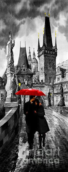 Prague - Red Umbrella, by Yuriy Shevchuk